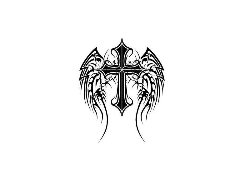 Tribal black tattoo cross.