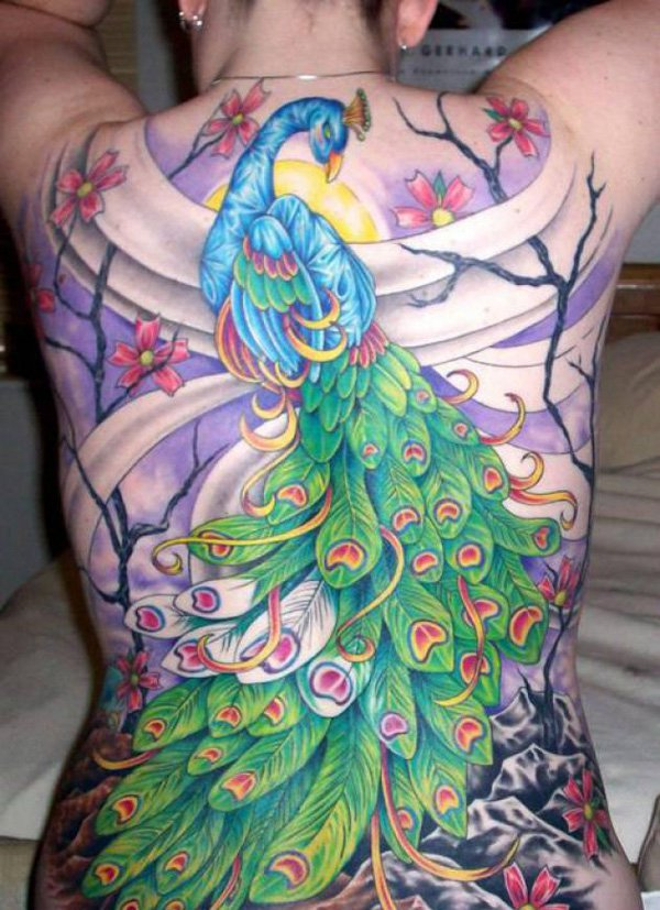 26-Peacock-Tattoos-cherry-blossom
