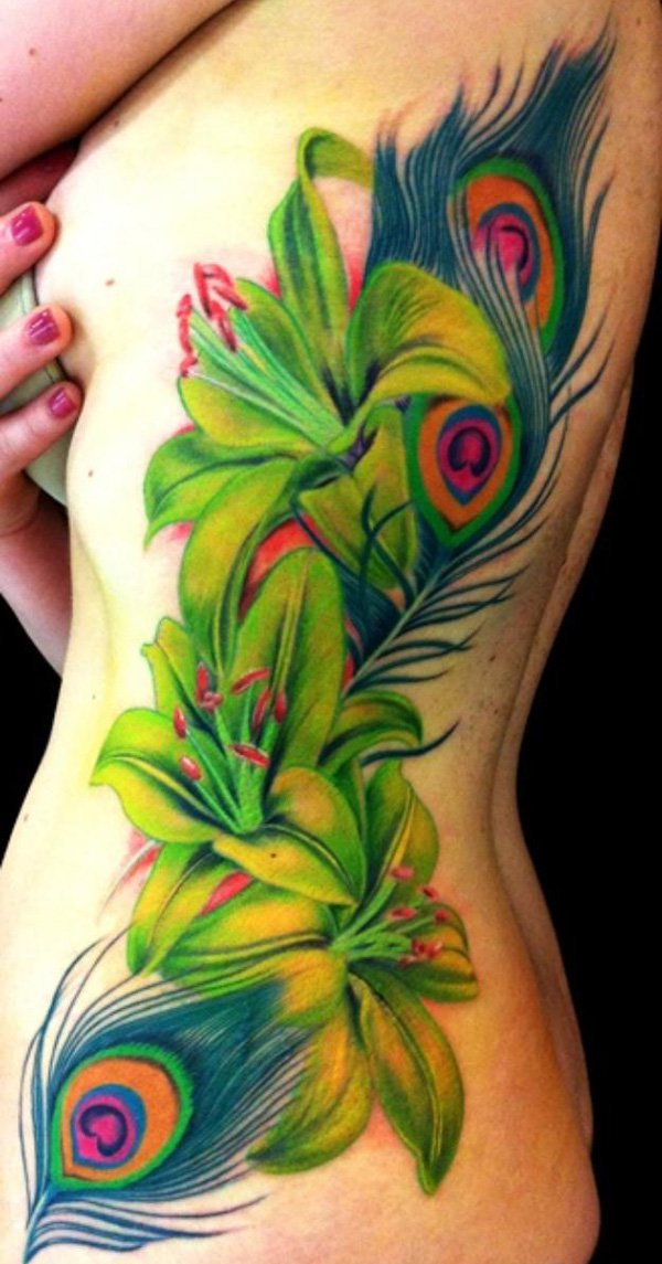 36-Peacock-Feather-and-Lily-Tattoo1