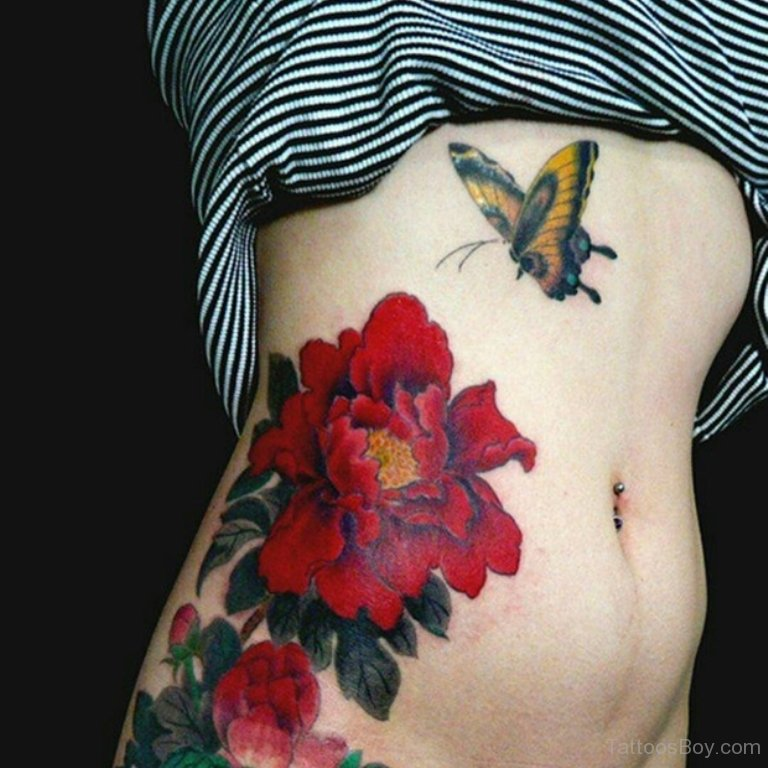 Butterfly-And-Flower-Tattoo-On-Rib-TB12028