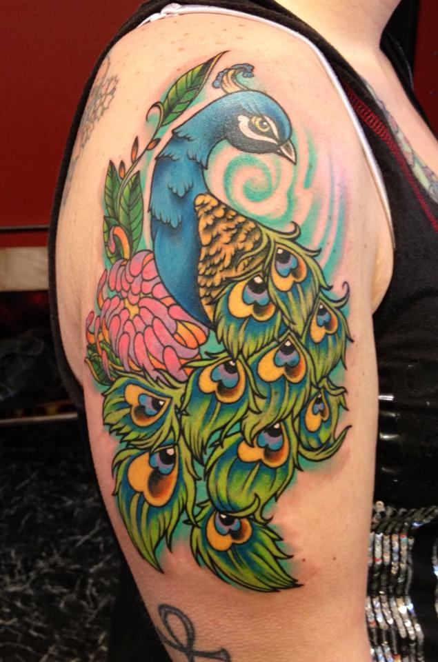 Peacock-Tattoo-On-Shoulder