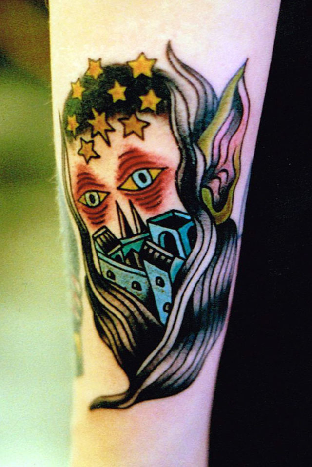 colored-goblin-tattoo-on-left-sleeve